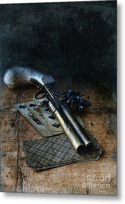 Flint Lock Pistol And Playing Cards Metal Print by Jill Battaglia