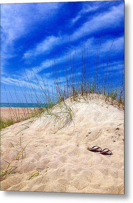 Flip Flops In The Sand Metal Print
