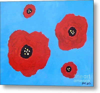 Metal Print featuring the painting Floating Flowers by Alys Caviness-Gober