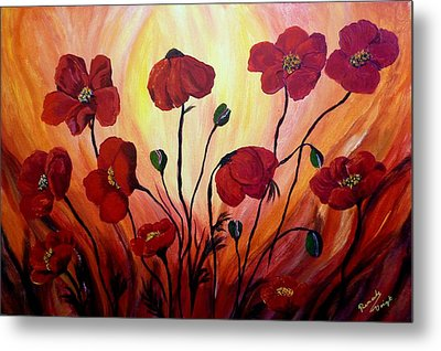 Floating Poppies Metal Print