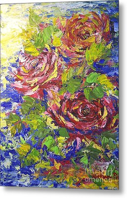Metal Print featuring the painting Floating Roses by Kathleen Pio