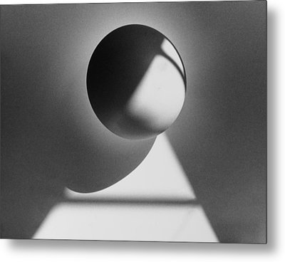 Floating Sphere On Light Triangle- Black And White Silver Gelati Metal Print by Adam Long