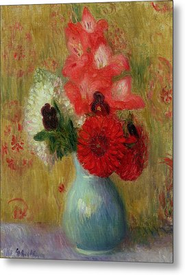 Floral Arrangement In Green Vase Metal Print by William James Glackens