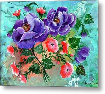 Floral Frenzy Metal Print by Fram Cama
