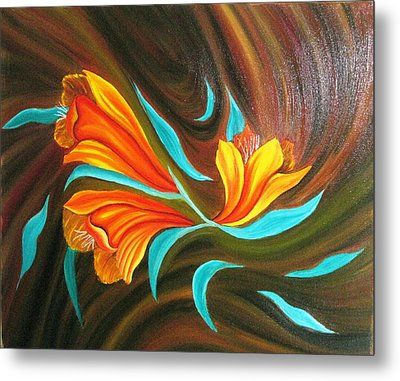 Floral Friendship-abstract Painting Metal Print by Rejeena Niaz