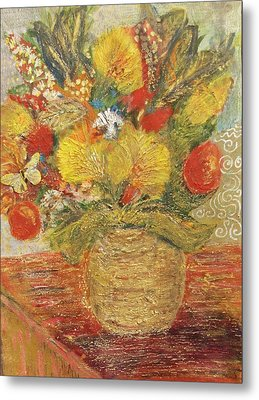Floral In Vase With A Bow Metal Print by Anne-Elizabeth Whiteway