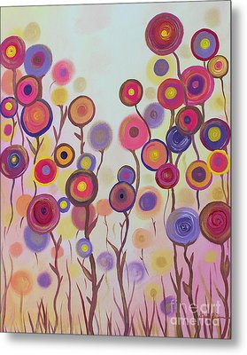 Metal Print featuring the painting Floral Jewels by Stacey Zimmerman