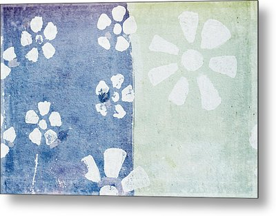 Floral Pattern On Old Grunge Paper Metal Print by Setsiri Silapasuwanchai
