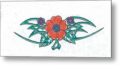 Floral Trible Metal Print by Kevin Lea