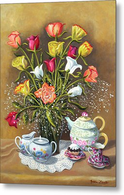 Floral With China And Ceramics Metal Print