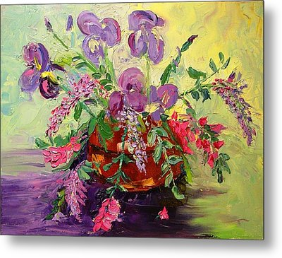 Metal Print featuring the painting Floral With Knives by Carol Berning