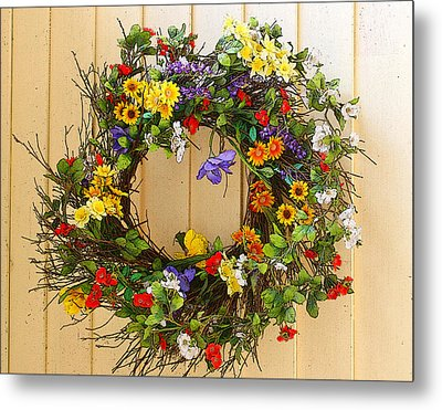 Metal Print featuring the photograph Floral Wreath by Cindy Haggerty