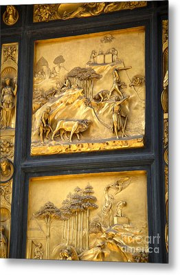 Florence Italy - Baptistry Doors Metal Print by Gregory Dyer