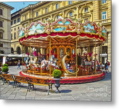 Florence Italy Carousel - 02 Metal Print by Gregory Dyer