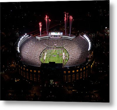 Florida State Fireworks Over Doak Campbell Stadium Aerial View Metal Print by Replay Photos