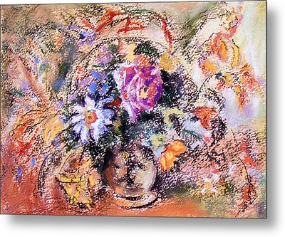 Metal Print featuring the painting Flower Burst Mixed Bouquet by Richard James Digance