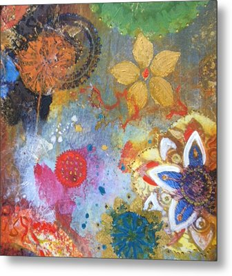 Metal Print featuring the painting Flower Garden by Elizabeth Coats