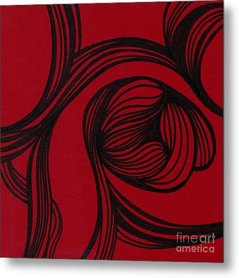 Flower On Red Metal Print