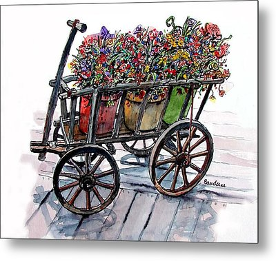 Metal Print featuring the painting Flower Wagon by Terry Banderas