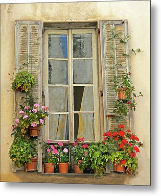 Metal Print featuring the photograph Flower Window Provence France by Dave Mills