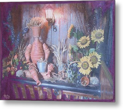 Metal Print featuring the painting Flowerpotman by Richard James Digance