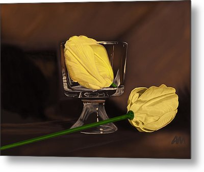 Flowers And Glass Metal Print by Tony Malone