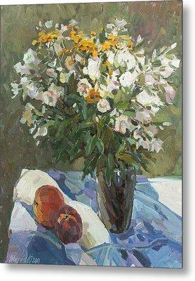 Flowers And Peaches Metal Print by Juliya Zhukova