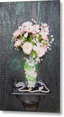 Flowers And Vase Metal Print by Angela Stout