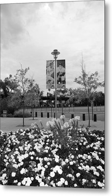 Flowers At Citi Field In Black And White Metal Print by Rob Hans