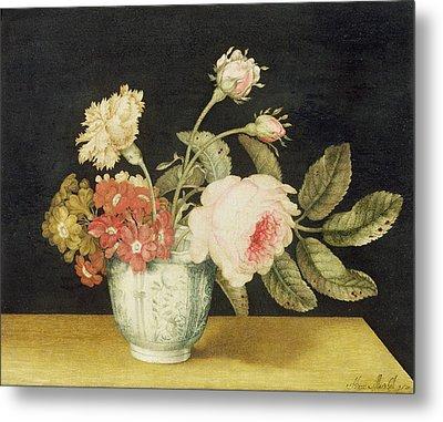 Flowers In A Delft Jar  Metal Print by Alexander Marshal