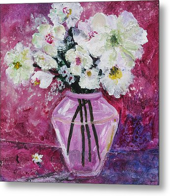 Flowers In A Magenta Room Metal Print by Marilyn Woods