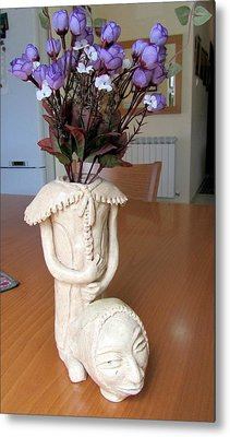 Flowers In My Head  Ceramic Vase Sculpture Of A Lady With A Removable Head Shoulder Pads Hands Face Metal Print by Rachel Hershkovitz