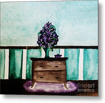 Flowers On My Dresser Metal Print by Marsha Heiken
