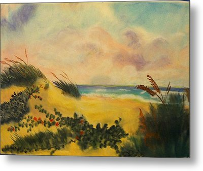 Flowers On The Beach Metal Print by Karel Thome