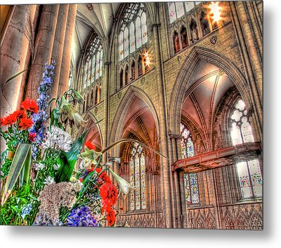 Flowers York Minster - Hdr Metal Print by Colin J Williams Photography