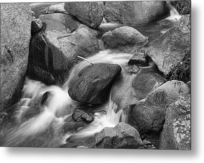 Flowing Water Down The Colorado St Vrain River Bw Metal Print by James BO  Insogna