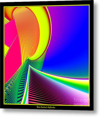 Fluorescent Boat And Giant Wave Fractal 95 Metal Print by Rose Santuci-Sofranko