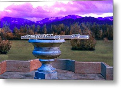 Flute On Marble Vase 2 Metal Print