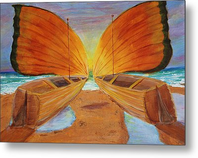 Fly Away Sunset Metal Print
