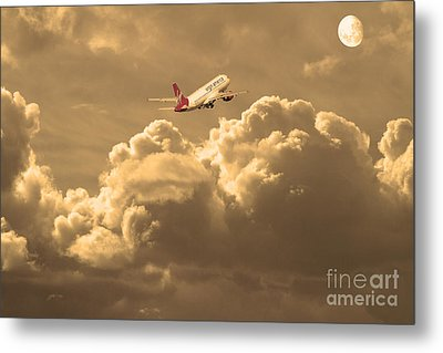 Fly Me To The Moon . Partial Sepia Metal Print by Wingsdomain Art and Photography