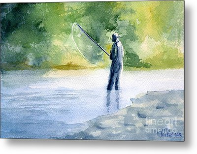 Metal Print featuring the painting Flyfishing by Eleonora Perlic