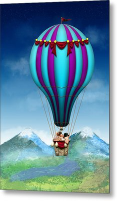 Flying Pig - Balloon - Up Up And Away Metal Print by Mike Savad