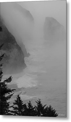 Fog And Cliffs Of The Oregon Coast Metal Print by Mick Anderson