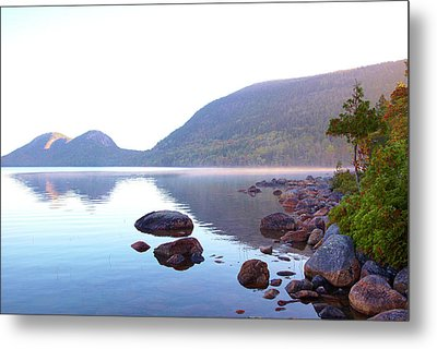 Fog Lifting Over Jordan Pond Metal Print by Thomas Northcut