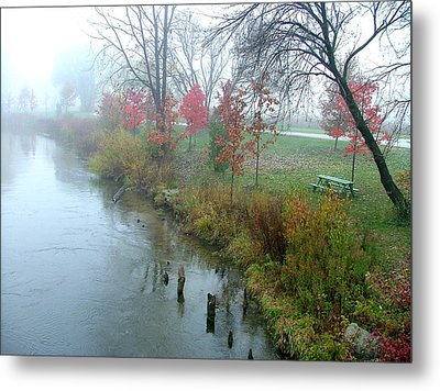Fog On The Muskegon River Metal Print