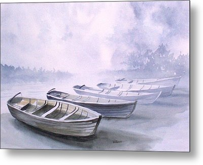 Metal Print featuring the painting Foggy Morning by Richard Willows