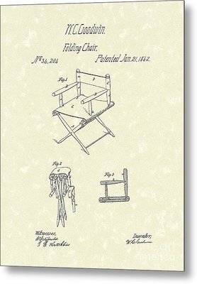 Folding Chair 1862 Patent Art  Metal Print by Prior Art Design