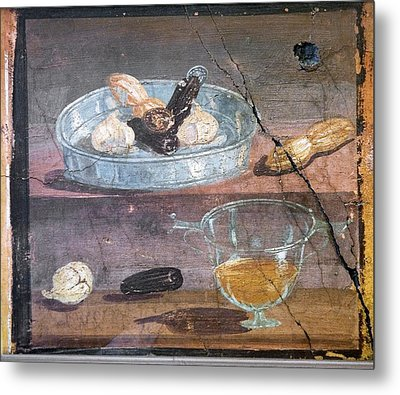 Food And Glass Dishes, Roman Fresco Metal Print by Sheila Terry