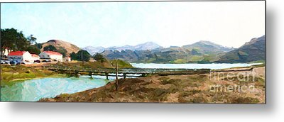 Foot Bridge At Rodeo Lagoon In The Marin Headlands . Photo Art Metal Print by Wingsdomain Art and Photography