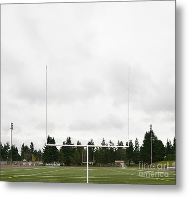 Football Field And Goalpost Metal Print by Andersen Ross
